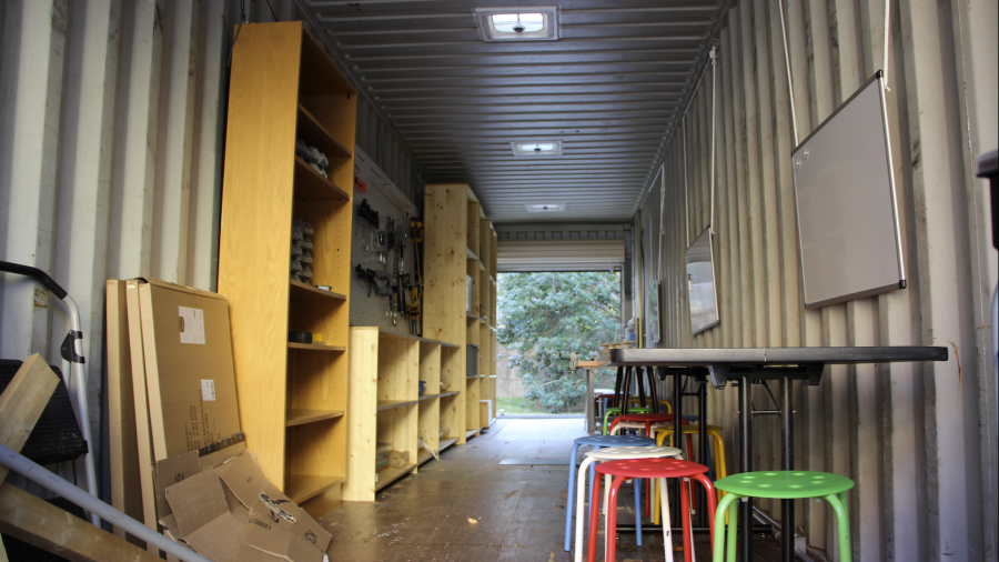 The inside of the shipping container design space