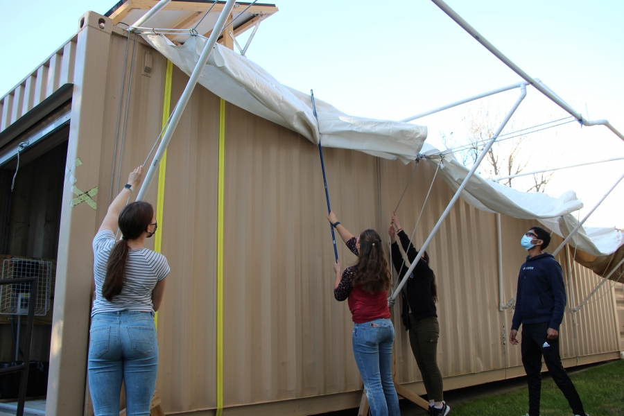 The retractable awning will allow the engineers to expand their covered design space.