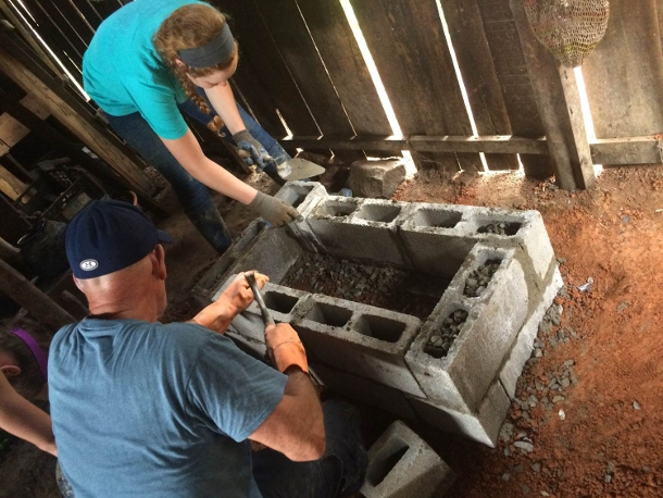 In Costa Rica, students helped construct 10 clean-cook stoves for local residents. Cooking over open flames without proper ventilation was leading to many in the community falling ill from the fumes.