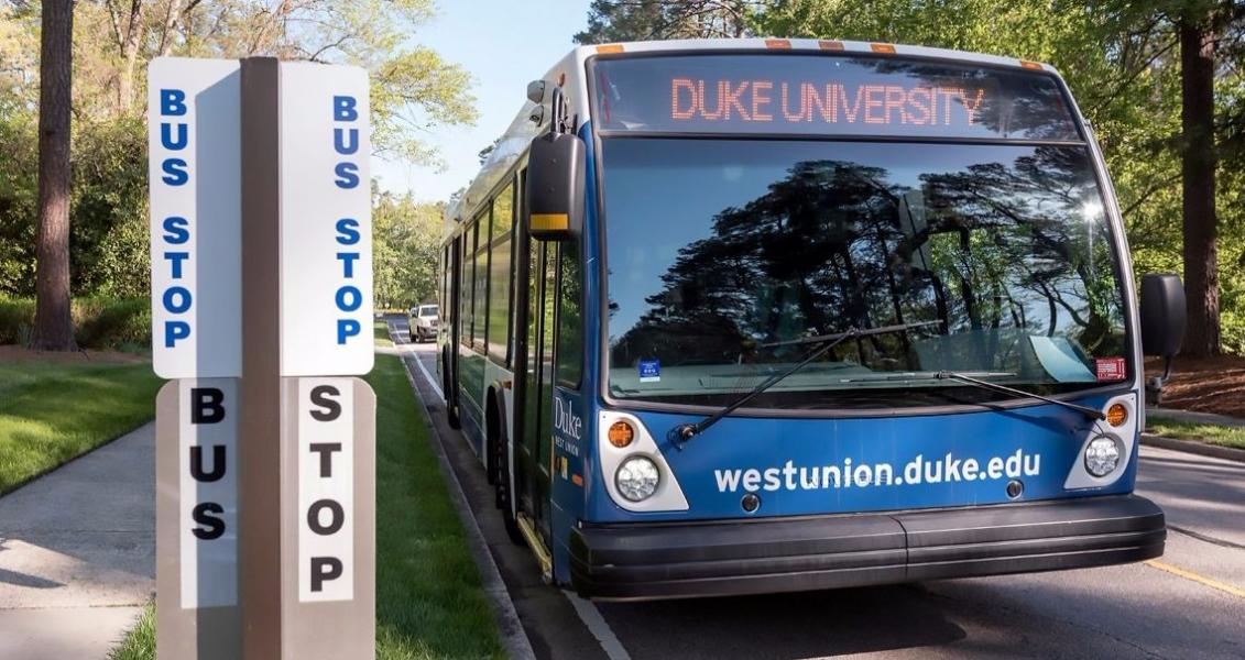 Free buses connect Duke and Durham, and the campus is a 30-minute car ride from RDU, an international airport.